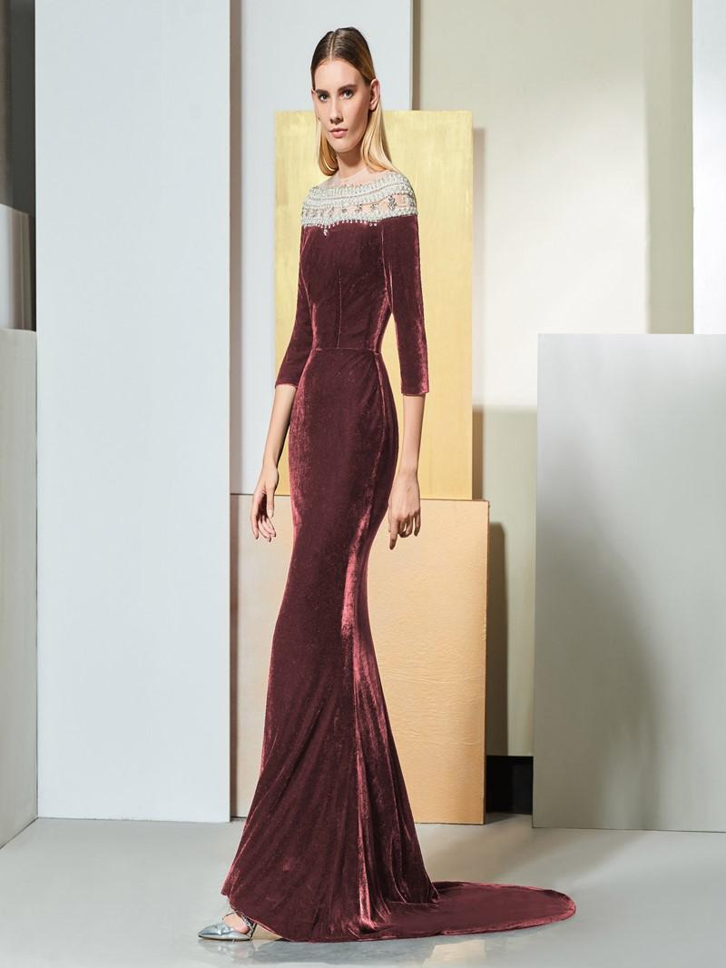 Ericdress Half Sleeve Black Mermaid Prom Dress With Beadings