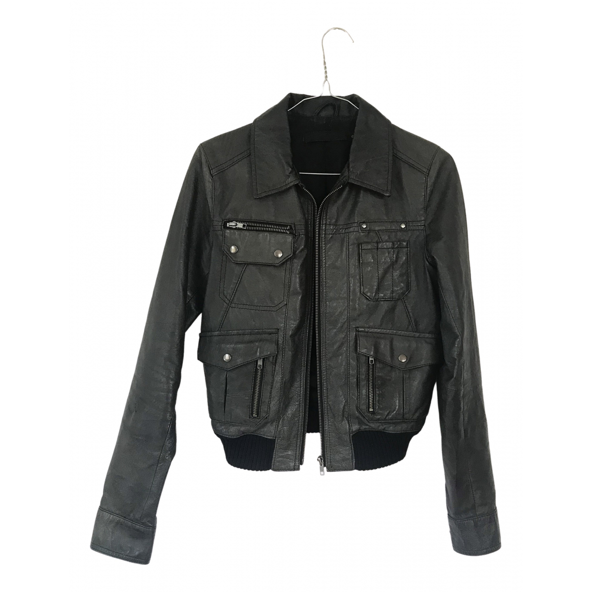 Non Signé / Unsigned \N Anthracite Leather jacket for Women 8 UK