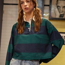 Striped Polo Neck Sweatshirt