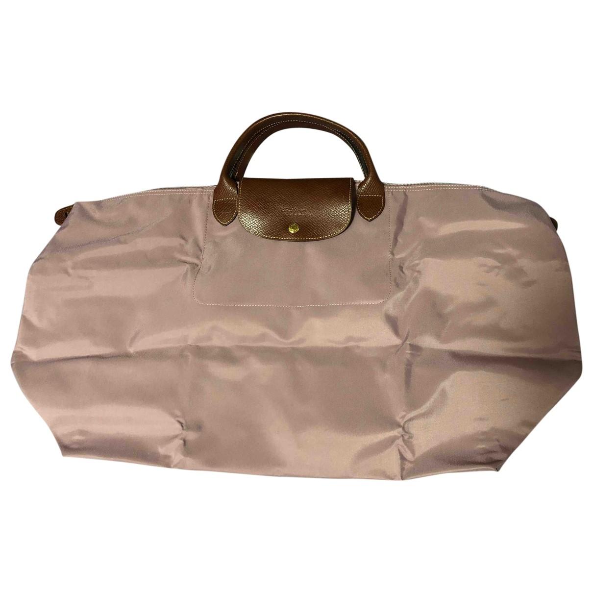 Longchamp Pliage  Reisetasche in  Rosa Leinen