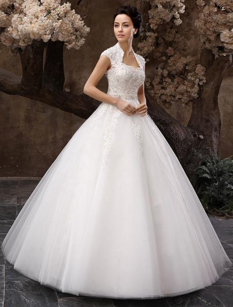 Milanoo Vestido de novia de tul con ojo de cerradura