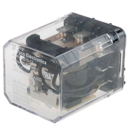 TE Connectivity , 12V dc Coil Non-Latching Relay 3PDT, 10A Switching Current Plug In, 3 Pole