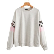 Sweatshirt mit Leopard Muster und Farbblock