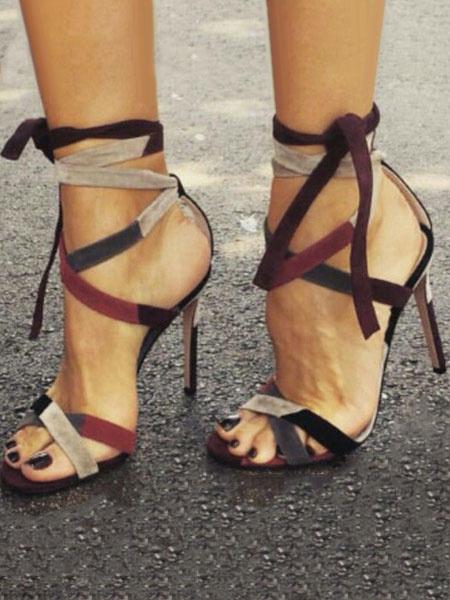 Milanoo High Heels Sandals Open Toe Lace Up Stiletto Sandals Womens Dress Shoes