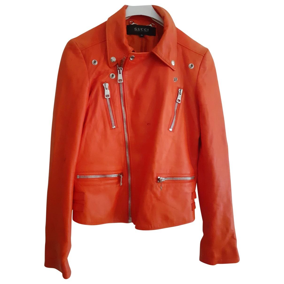 Gucci \N Jacke in  Orange Leder