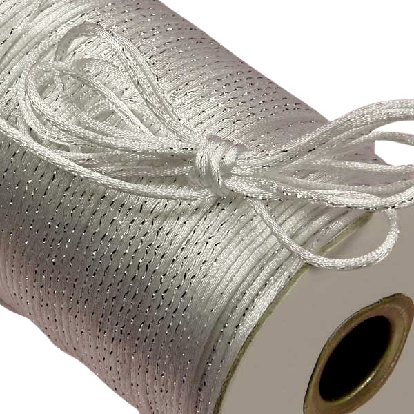 White/Silver Metallic Rat Tail Cord 2mm X 200 Yards by Ribbons.com