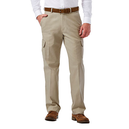 Haggar Stretch Comfort Cargo Classic-Fit Flat-Front Pants, 40 32, White