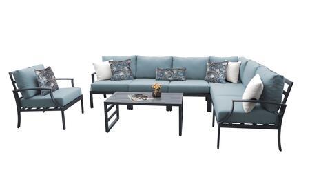 Lexington LEXINGTON-08d-SPA 8-Piece Aluminum Patio Set 08d with 1 Left Arm Chair  1 Right Arm Chair  1 Corner Chair  3 Armless Chairs  1 Club Chair
