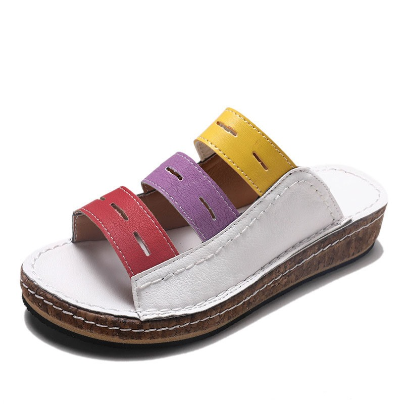 Ericdress Hollow Flip Flop Slip-On Color Block Slippers