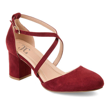 Journee Collection Womens Foster Pumps Buckle Pointed Toe Block Heel, 9 Medium, Red