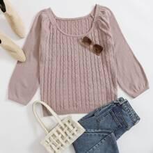 Einfarbiger Strick Pullover