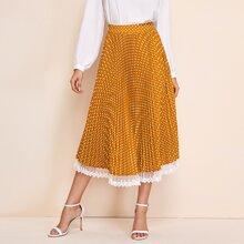 Embroidered Mesh Trim Polka Dot Pleated Skirt