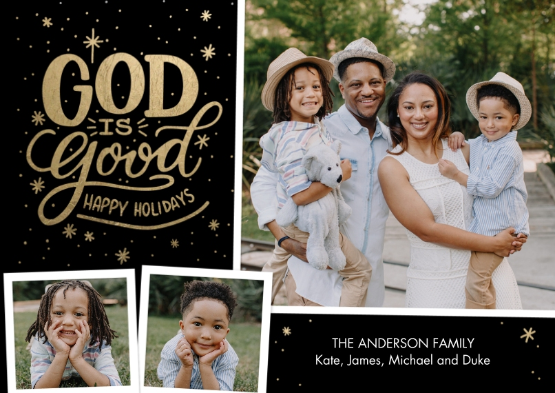 Christmas Photo Cards 5x7 Cards, Standard Cardstock 85lb, Card & Stationery -Christmas God is Good Snapshots by Tumbalina