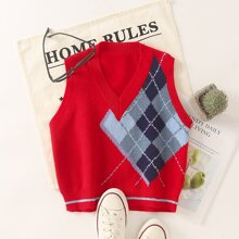Contrast Argyle Pattern Sweater Vest