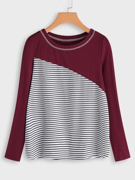 Yoins Burgundy Stitching Design Stripe Round Neck Long Sleeves T-shirt