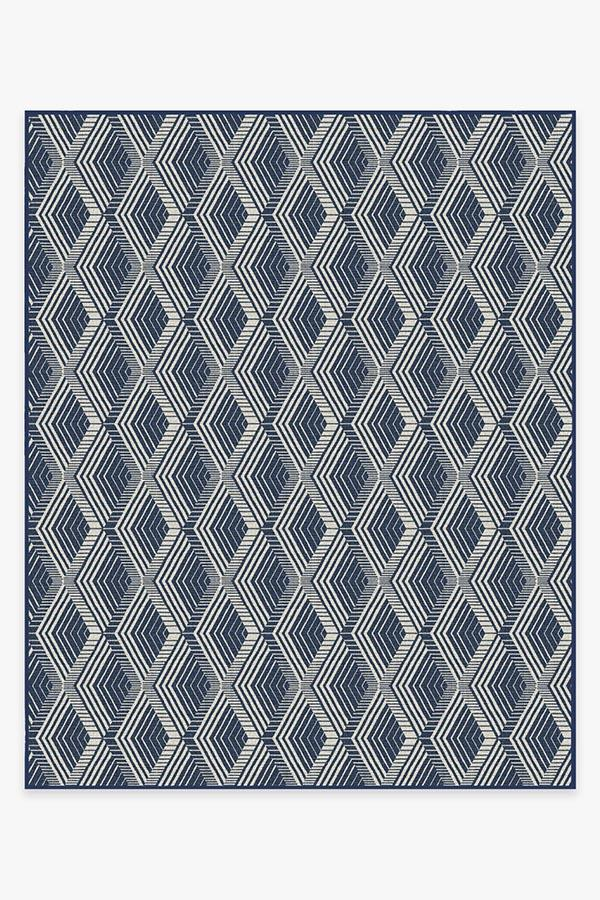 Washable Rug Cover & Pad | Outdoor Motus Diamond Navy Rug | Stain-Resistant | Ruggable | 8x10