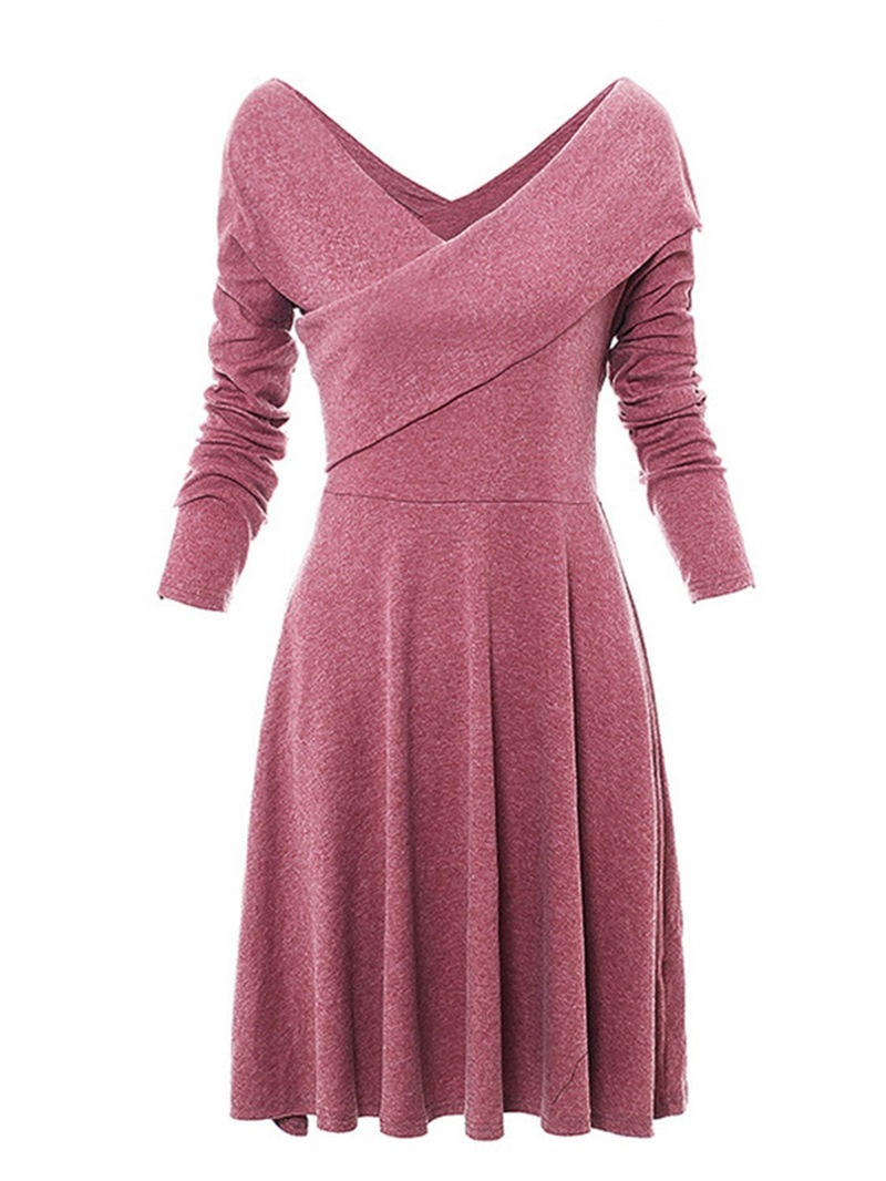 Ericdress V-Neck Knee-Length Long Sleeve Casual Regular Dress