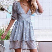 Kleid mit Puffaermeln und Raffung