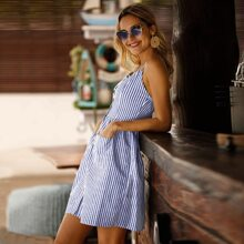 Cami Kleid mit Knopfen vorn, Streifen und doppelten Taschen