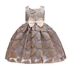 Kleid mit Blatt Stickereien, grosser Schleife und Reissverschluss hinten
