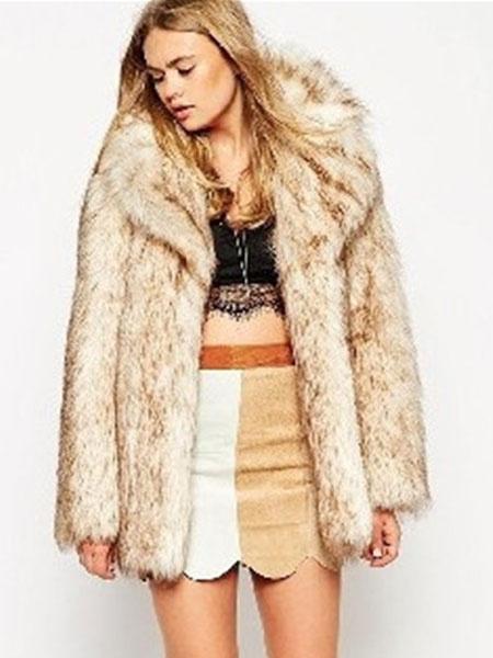 Milanoo Women Faux Fur Coat Long Sleeve Notch Collar Beige Women Faux Fur Jacket