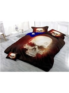 Unique Skull Wear-resistant Breathable High Quality 60s Cotton 4-Piece 3D Bedding Sets