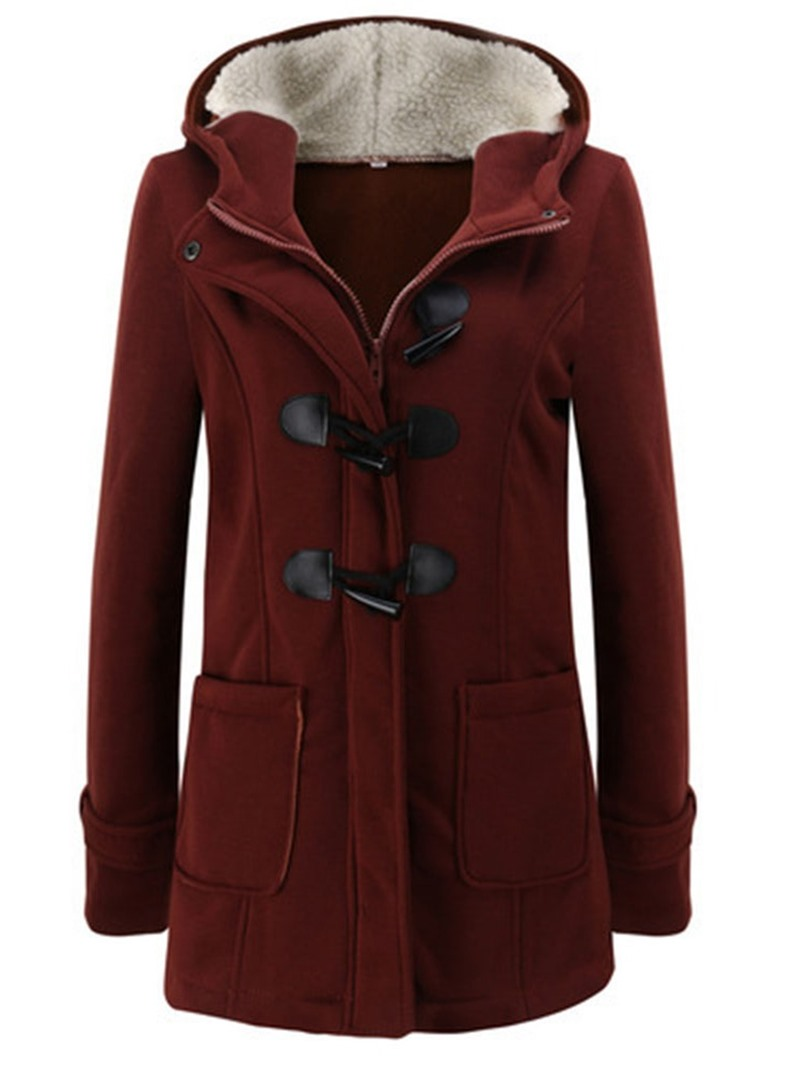 Ericdress Regular Slim Horn Button Fall Hooded Womens Overcoat