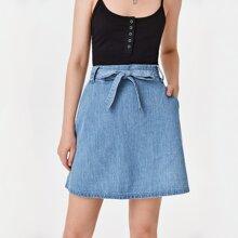 High Waist Belted Denim Skirt