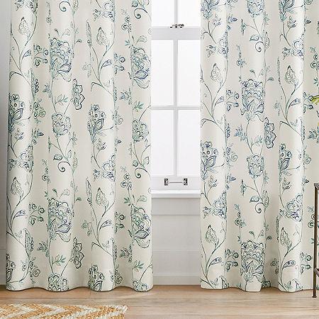 Liz Claiborne Quinn Jacobean Light-Filtering Grommet-Top Single Curtain Panel, One Size , Blue