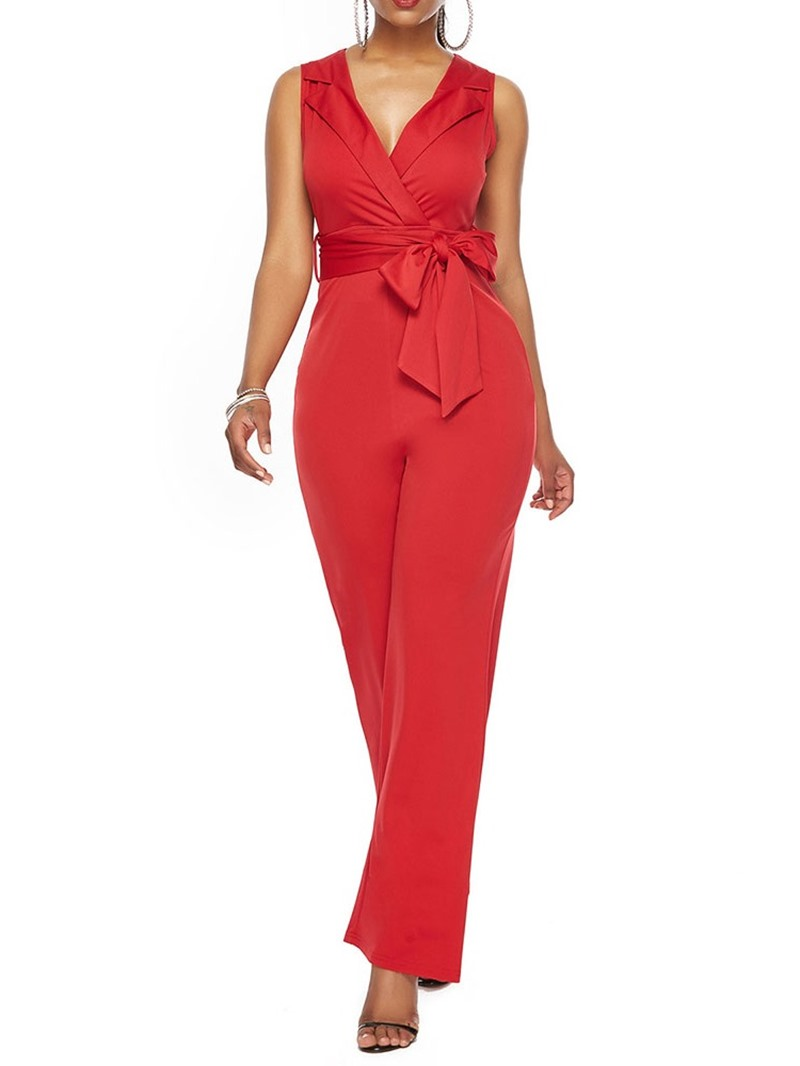 Ericdress Plain Office Lady Dressy Bowknot Slim Jumpsuit