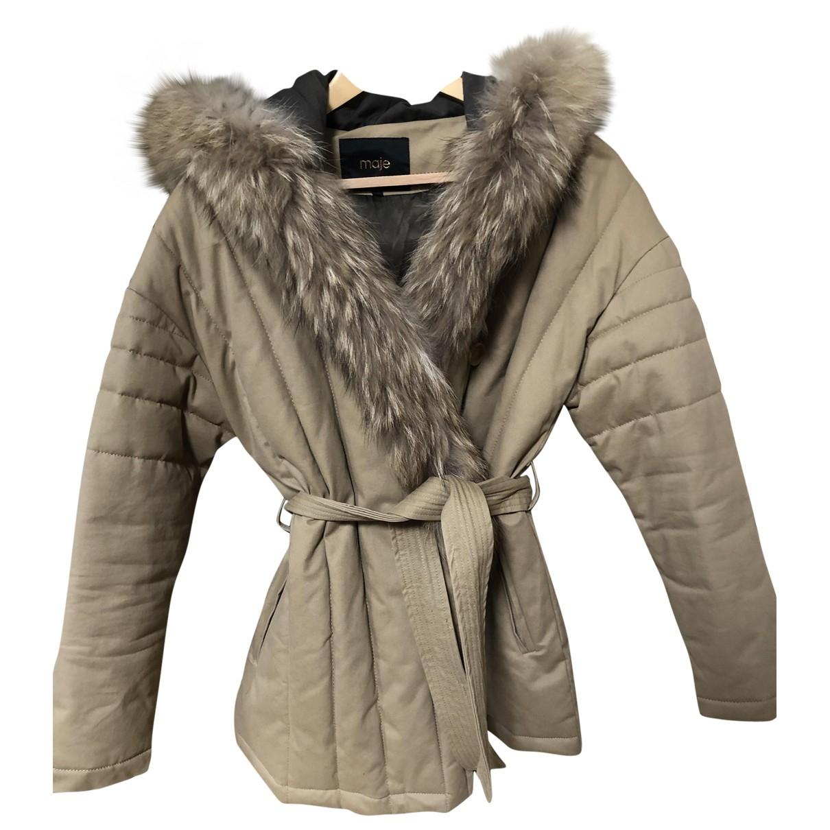 Maje \N Khaki Cotton coat for Women 38 FR