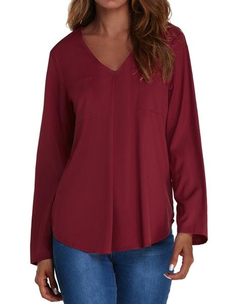 Yoins Kenoce Pocket Design V-neck Long Sleeves Blouse