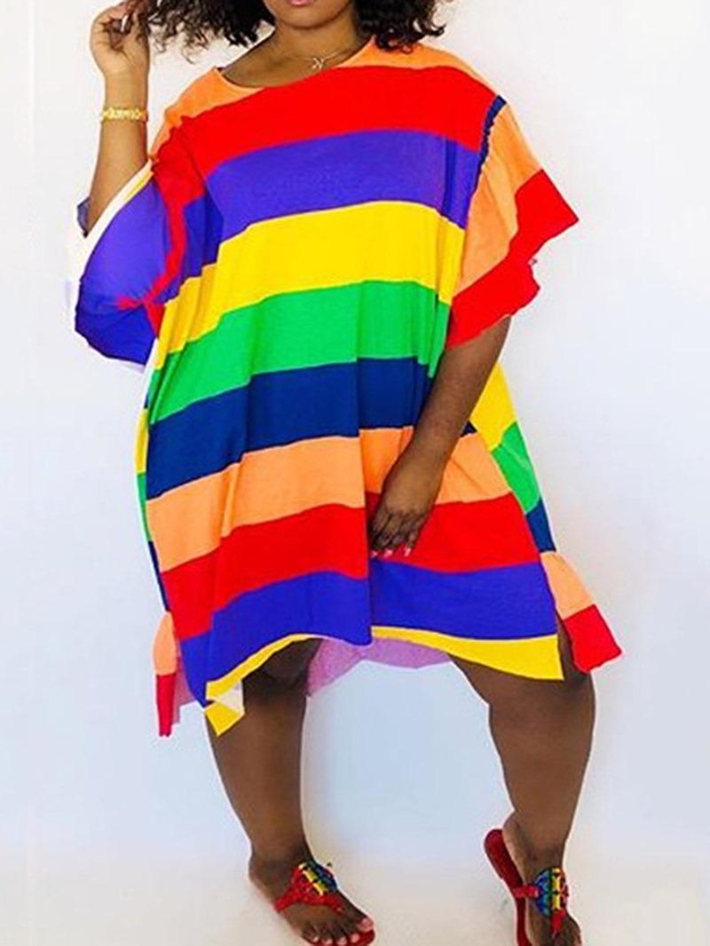 Ericdress Round Neck Color Block Mid-Calf Pullover Asymmetrical Dress