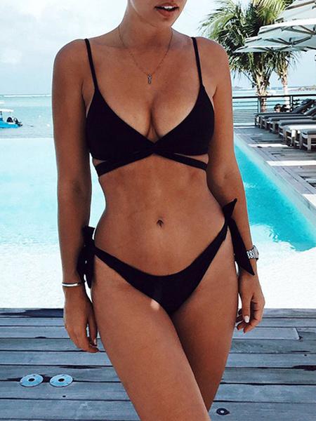 Milanoo Bikini traje de baño para las mujeres Negro ate para arriba las correas del cuello hombro abierto de verano traje de baño atractivo