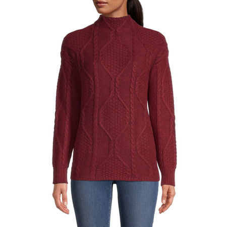 St. John's Bay Womens Mock Neck Long Sleeve Pullover Sweater, Xx-large , Red