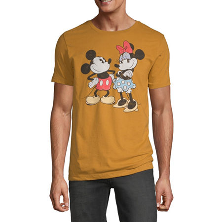 Mens Crew Neck Short Sleeve Mickey Mouse Graphic T-Shirt, Small , Yellow