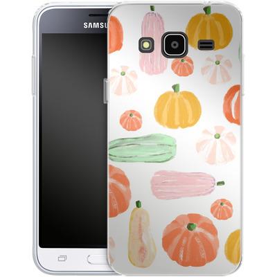 Samsung Galaxy J3 (2016) Silikon Handyhuelle - Pumpkin Pattern White von Mukta Lata Barua