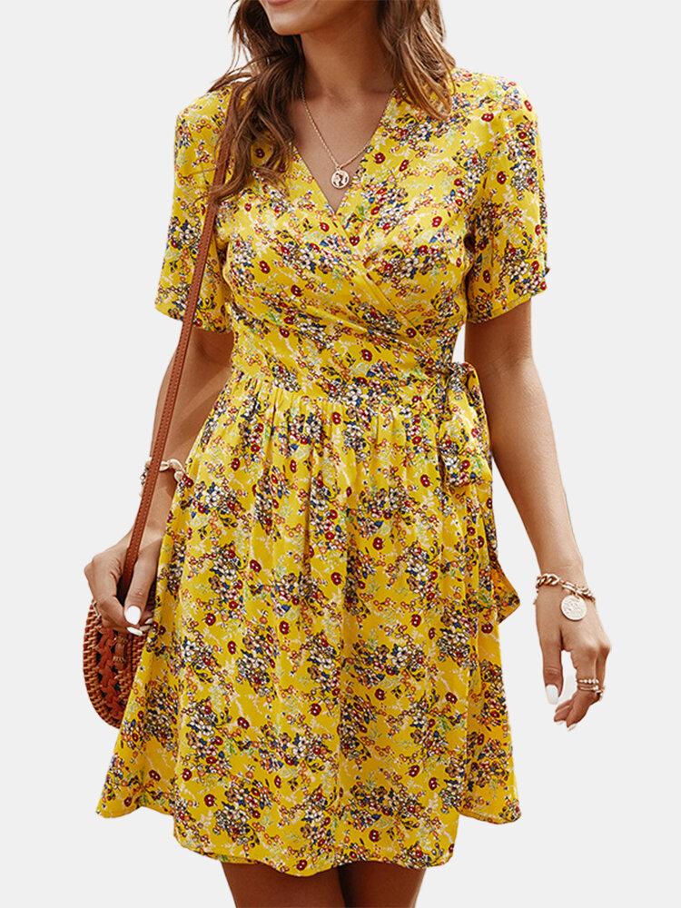 Cross Wrap Floral Print Bandage Short Sleeve Dress