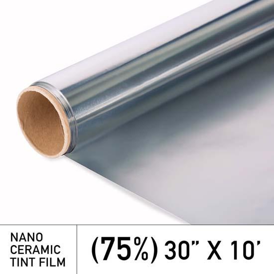 Window Tint 75 Percent Visibility 99 Percent IRR 100 Percent UV 30 Inch x 10 FT Roll Nano Ceramic 2 mm MotoShield Pro