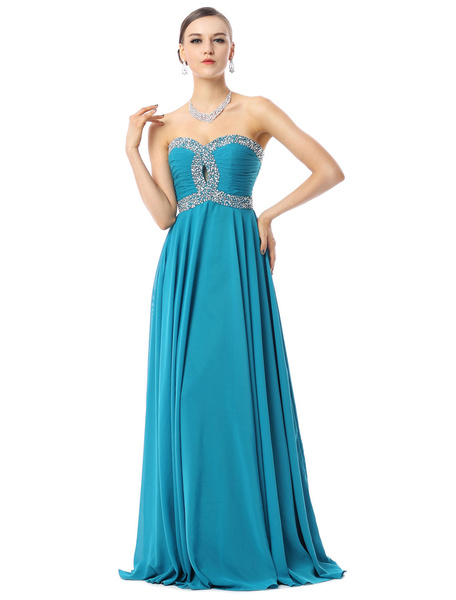 Milanoo Evening Dresses Strapless Chiffon Teal Beaded Long Formal Occasion Dress