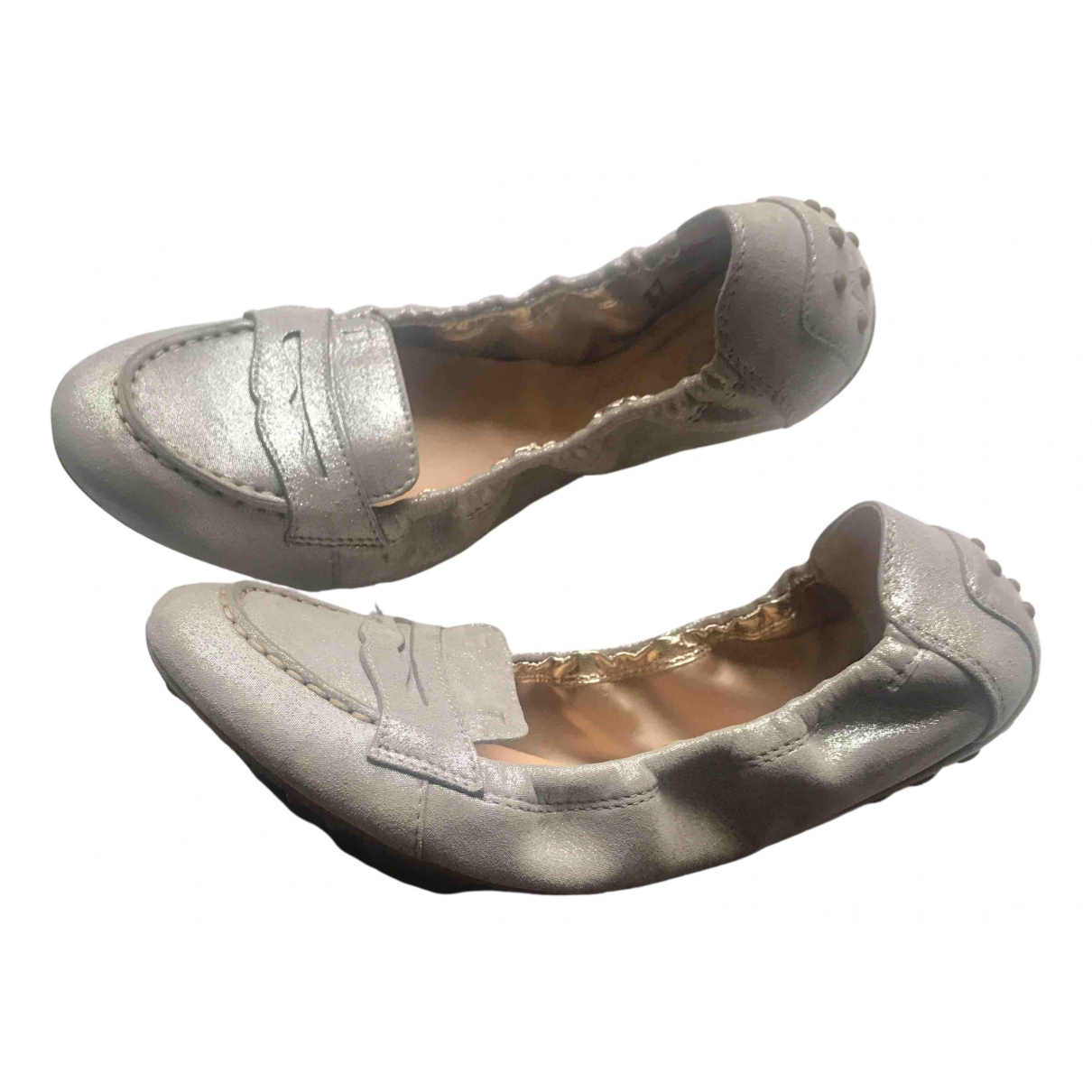 Tod's N Silver Leather Ballet flats for Women 37 EU