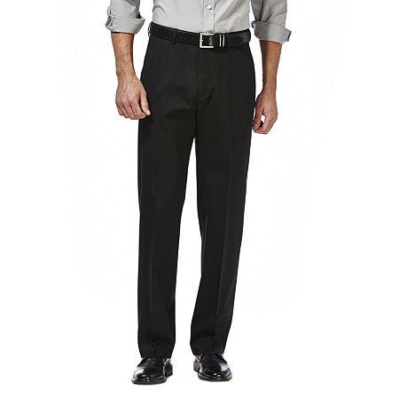 Haggar Premium No Iron Classic-Fit Flat-Front Khakis, 44 30, Black