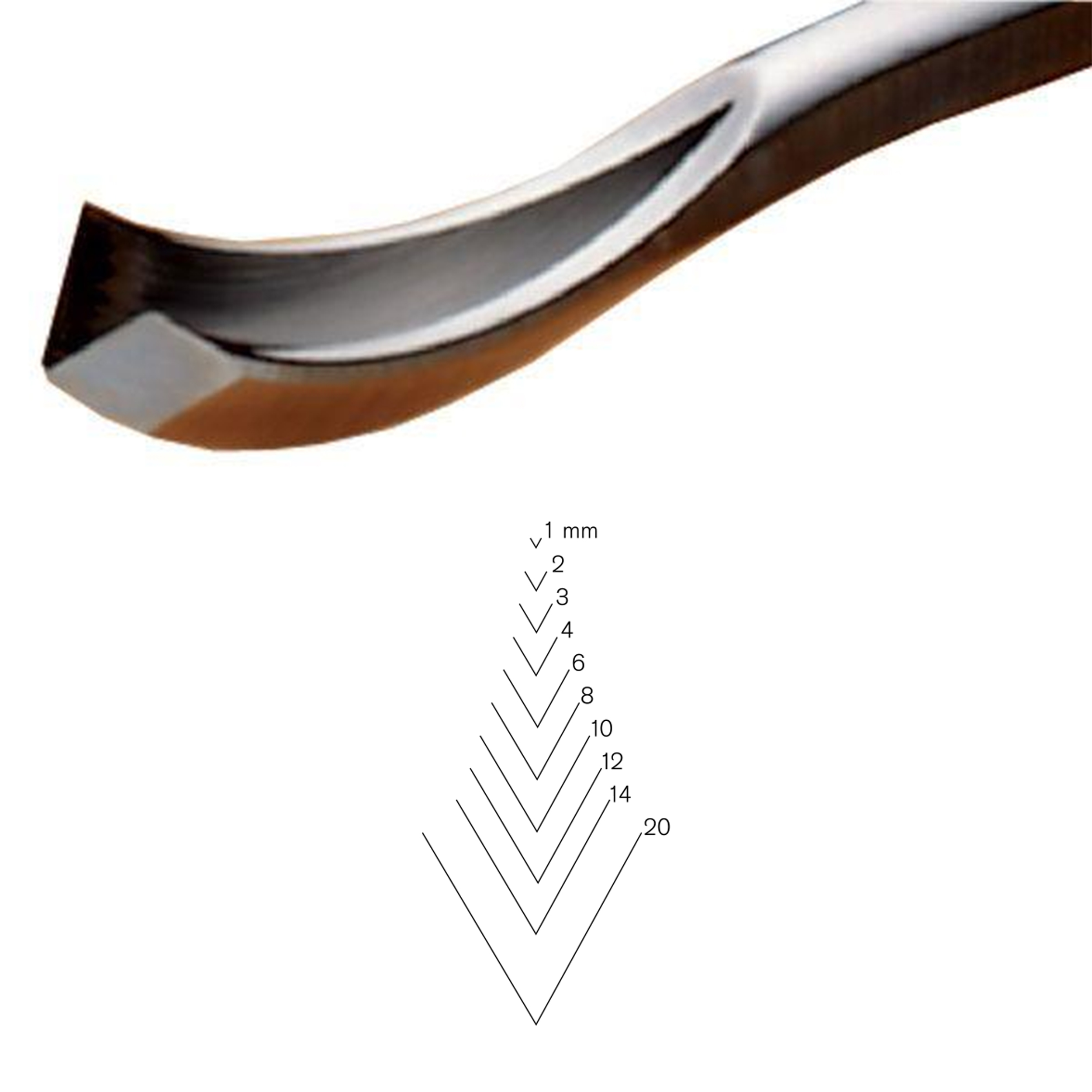 #12 Sweep Bent V-Parting Tool, 3 mm, Full Size