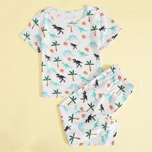 Conjunto de pijama con estampado de plantas y dinosaurio