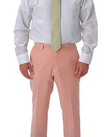 Seersucker Slacks Dress Pants Available in orange color
