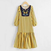 Girls Striped Floral Embroidered Babydoll Dress