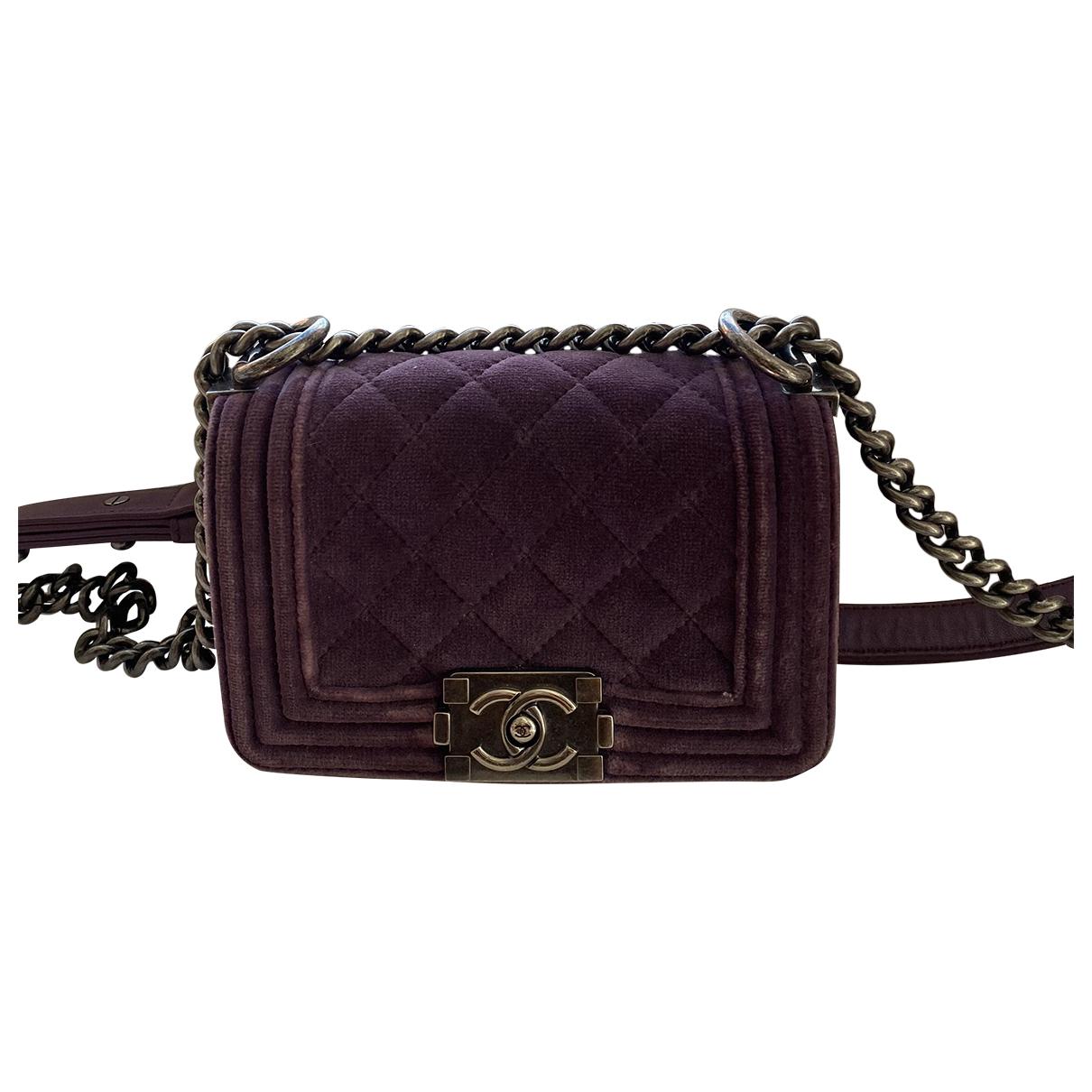 Chanel - Sac a main Boy pour femme en velours - violet