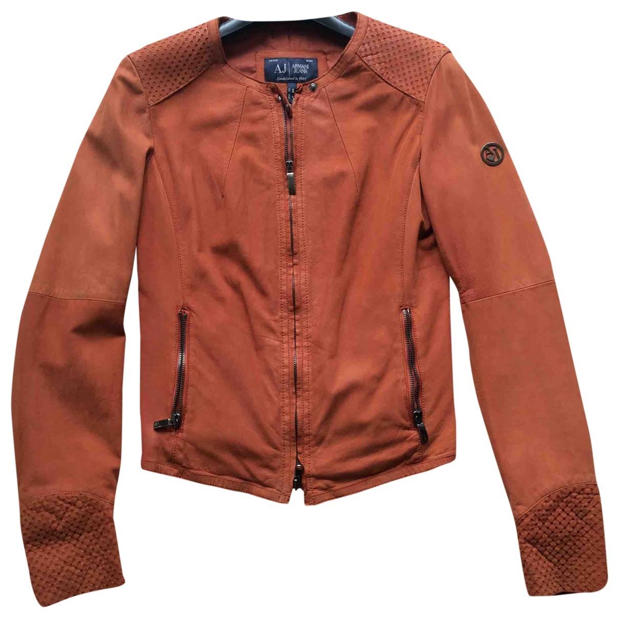 Armani Jeans \N Lederjacke in  Orange Leder