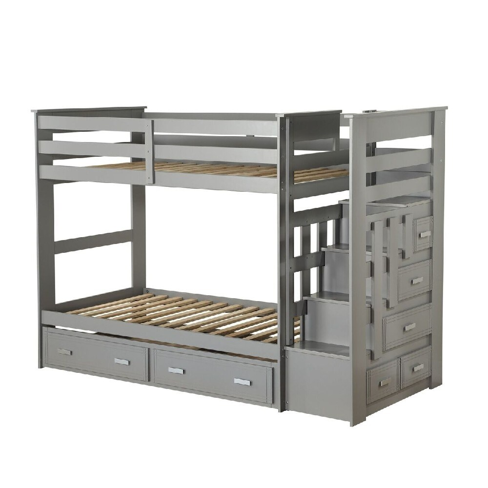 Transitional Twin Size Bunk Bed with 5 Drawers and Attached Trundle, Gray (Twin - Grey)