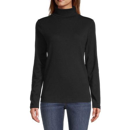St. John's Bay-Womens Turtleneck Long Sleeve T-Shirt, Petite Large , Black